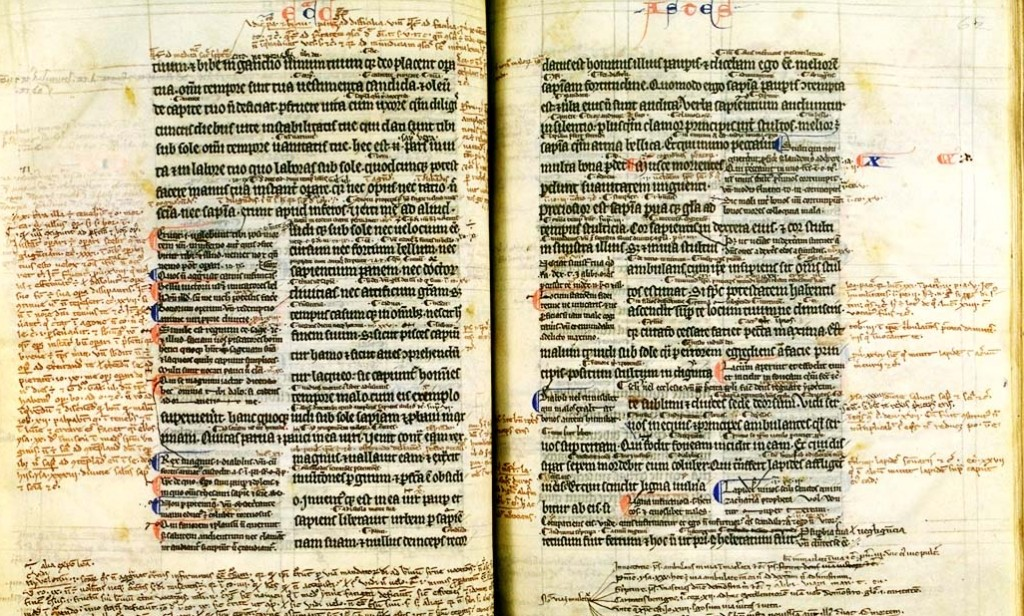 "A medieval hand-copied Bible with the ""Ordinary Gloss"" and a rich harvest of personal annotations from a scholar of long ago."