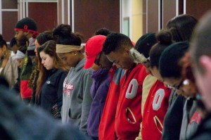 Ohio State students participate in a prayer vigil for Ferguson on November 24th. Photo credit: Jacob Shalkhauser for The Lantern